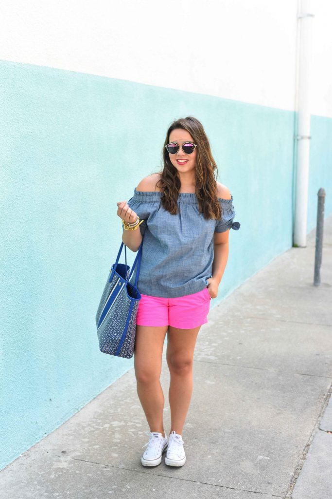Chambray off the shoulder top outfit   Summer chambray and shorts