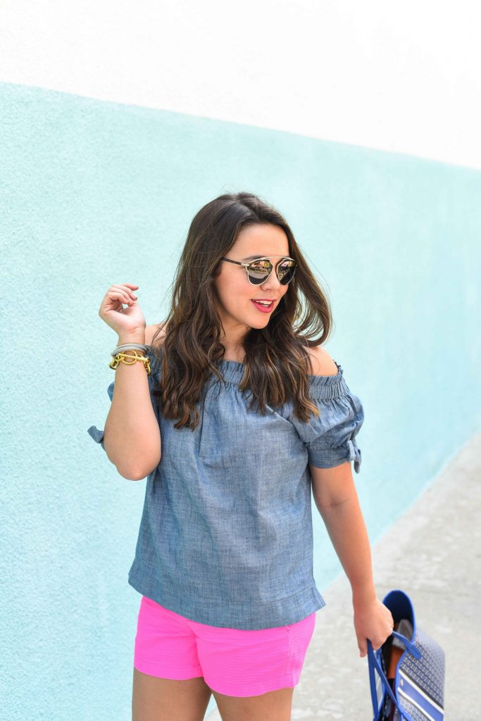 Chambray off the shoulder outfit   summer chambray top   off the shoulder top