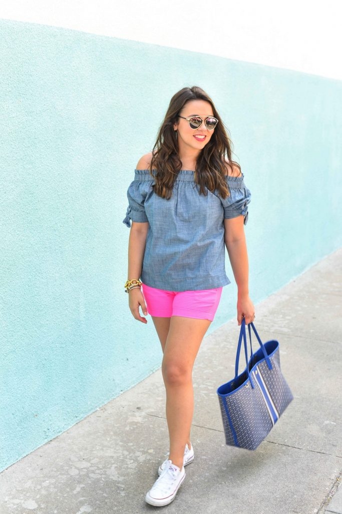 chambray off the shoulder top   Converse sneakers for summer   Casual summer outfit