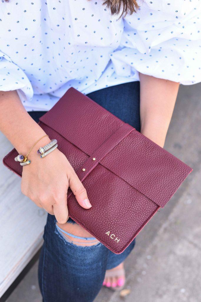 Cuyana clutch | Envelope clutch | Monogrammed clutch | Yurman bracelets