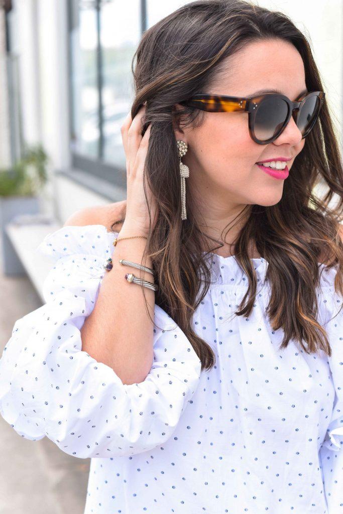 David Yurman cuff bracelets | Preppy bracelet stack | Lisi Lerch tassel earrings