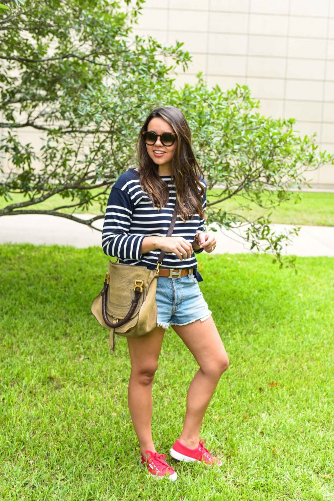 Hermes belt | stripes and denim shorts | how to wear sneakers