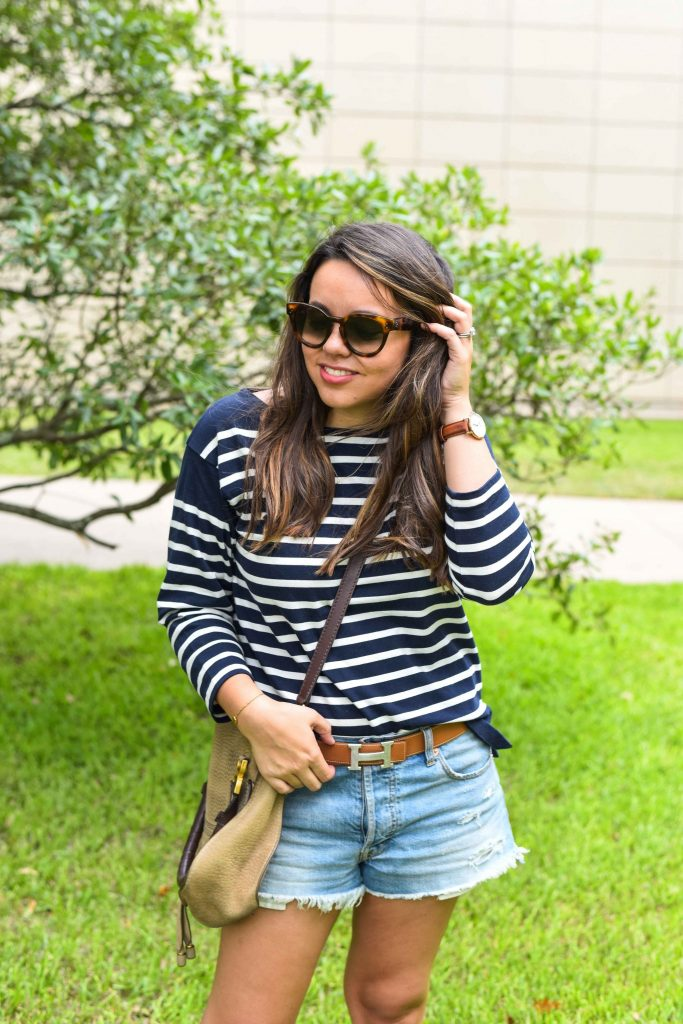 striped shirt outfit | hermes belt | J.Crew stripes | nautical outfit idea