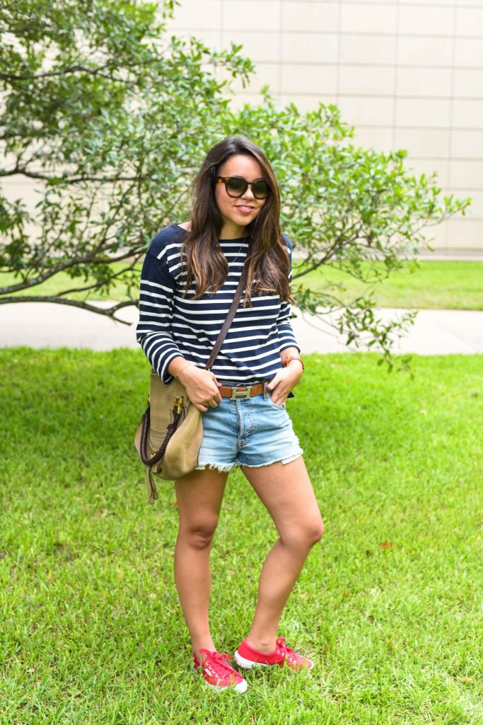 patriotic outfits for women | preppy stripe shirt outfit | navy boatneck tee | hermes belt