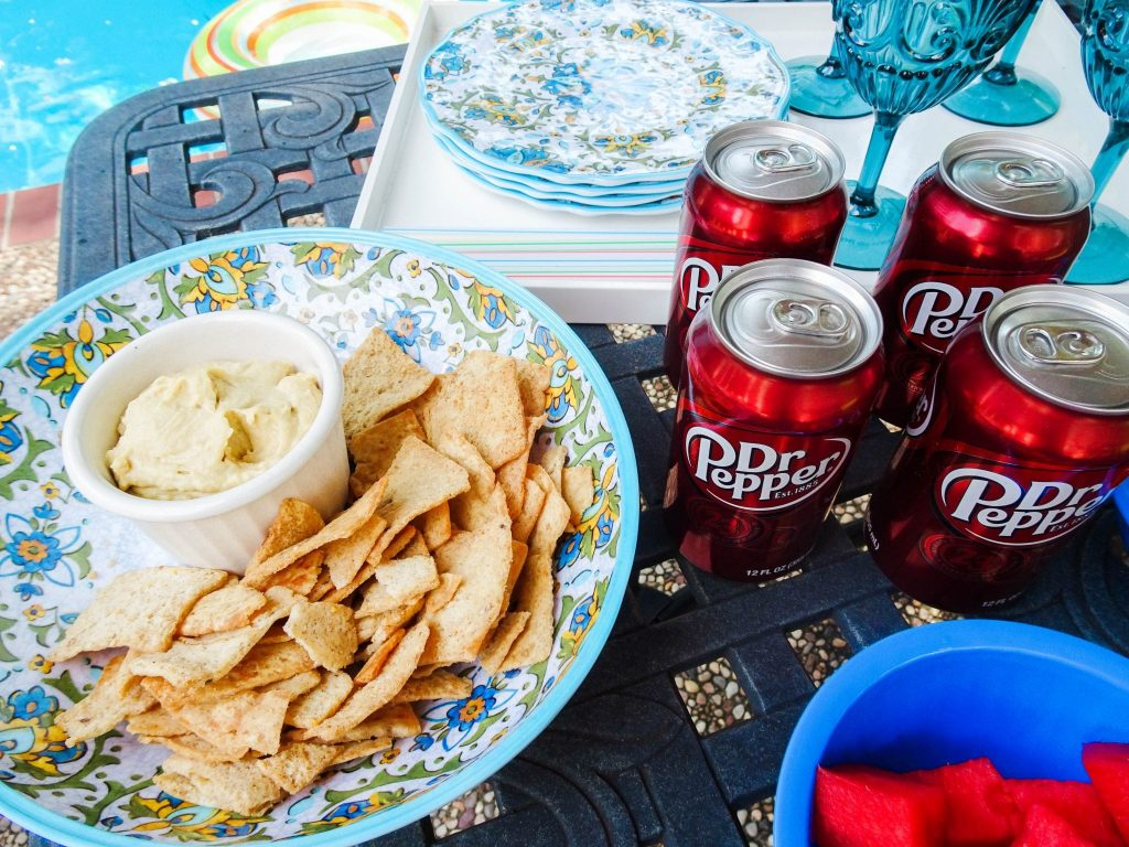 Dr Pepper and snacks poolside