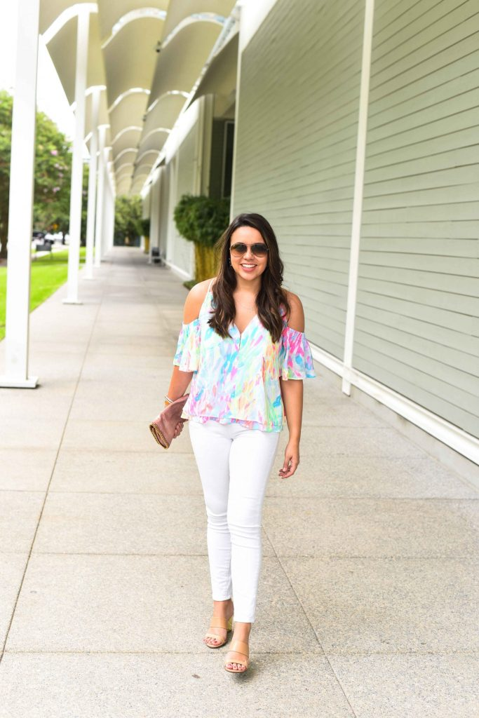 Lilly Pulitzer Bellamie top | Summer outfit ideas | Denim for summer