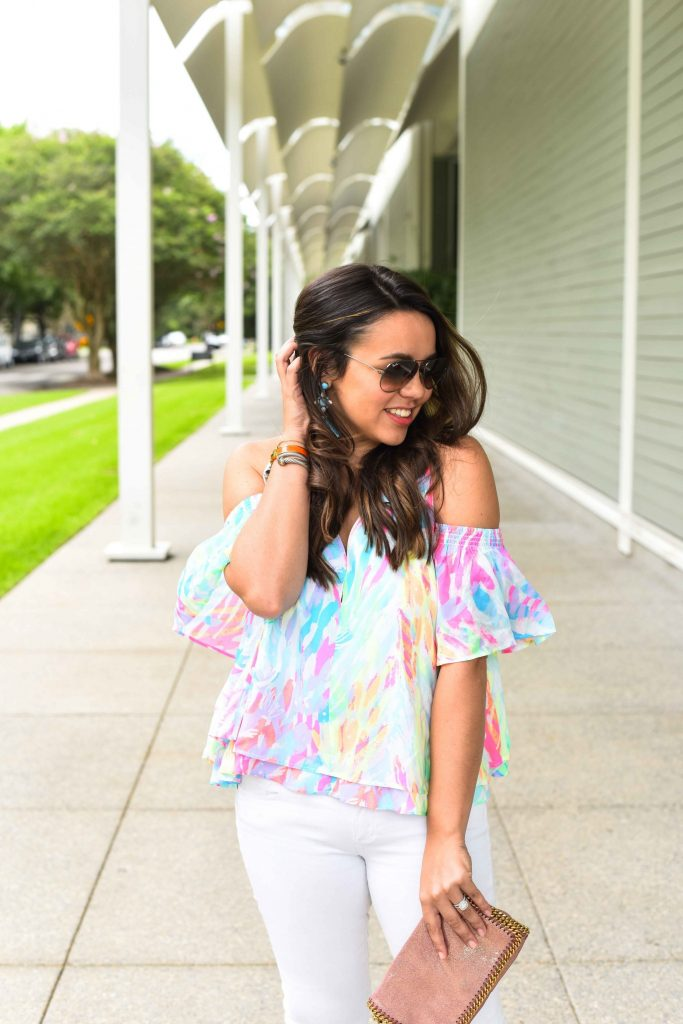 Lilly Pulitzer Sparkling Sands cold shoulder top | Summer outfit ideas