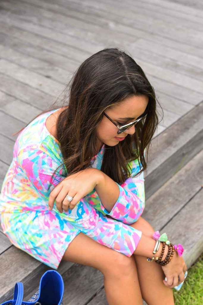 Tasseled bracelets | Lilly Pulitzer print | Printed t-shirt dress | Converse with a dress