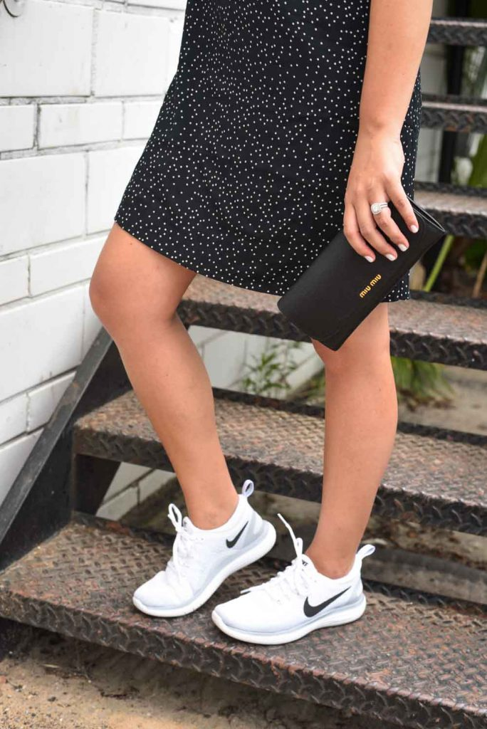 Black and white dress and Nikes | Nike women
