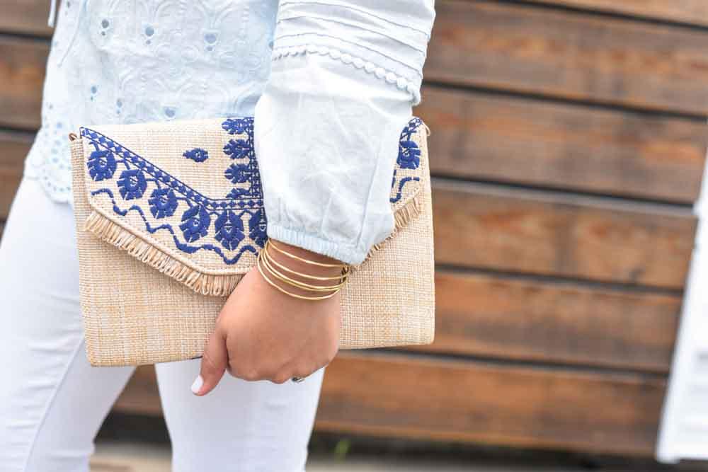 Stella & Dot summer clutch | Embroidered clutch