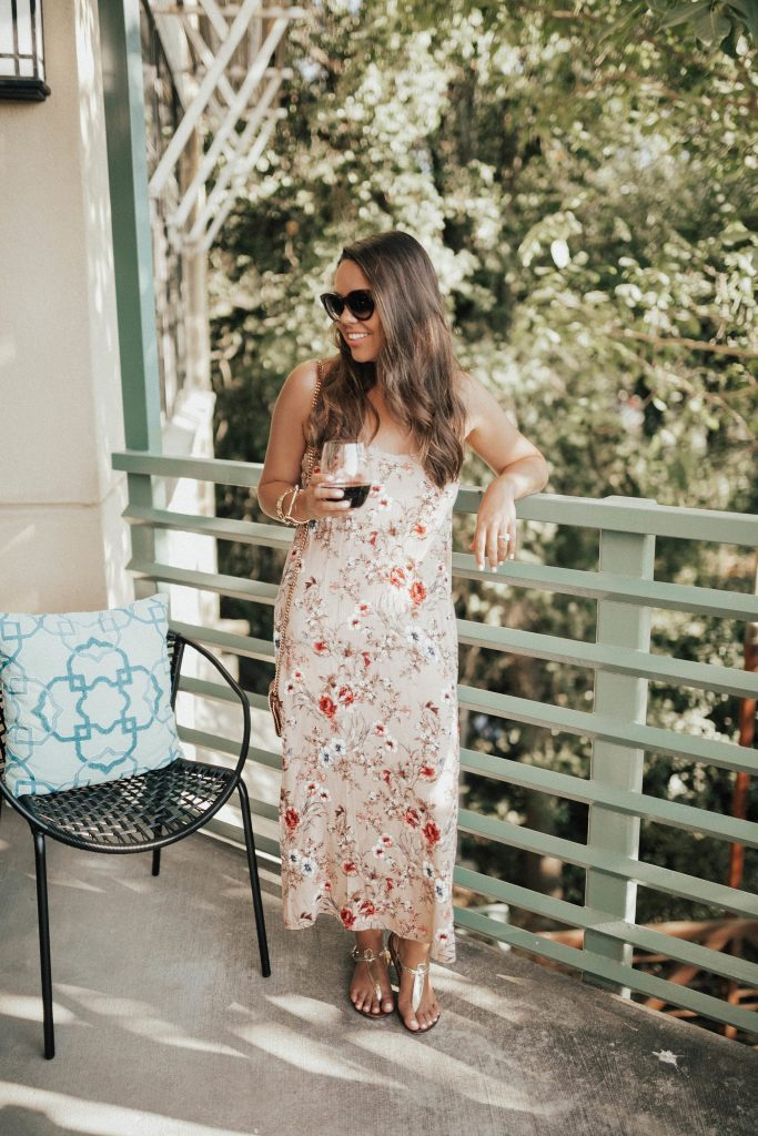 Floral maxi slipdress | California wine country outfit