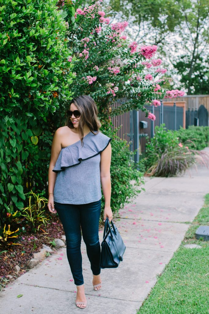 one shoulder striped top | budget-friendly trendy tops