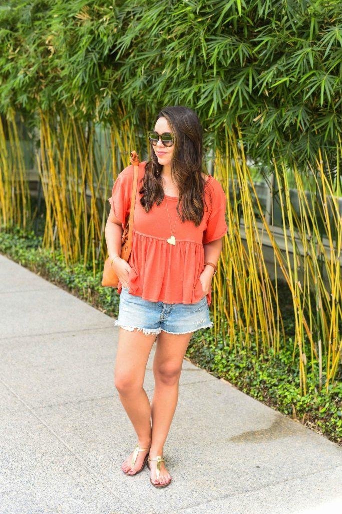 Peplum hem tee, summer outfit ideas