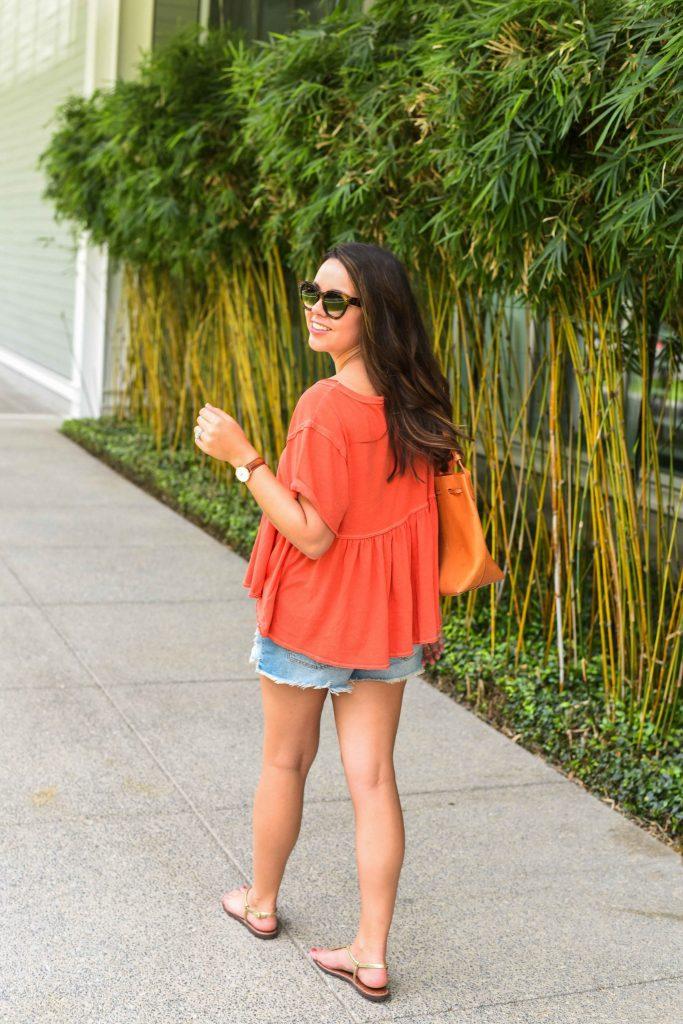 Peplum hem tee, under $50 summer outfit staple