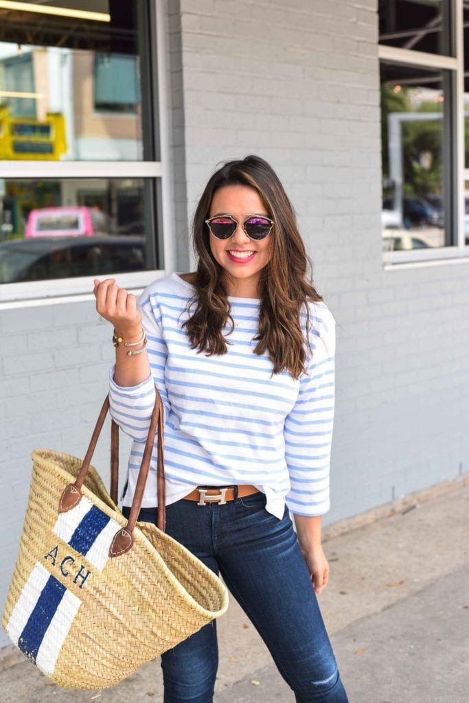 Striped tee with Hermes belt | Preppy style ideas