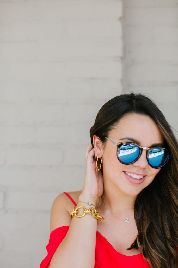 Le Specs reflective sunglasses, Julie Vos jewelry, brunette balayage
