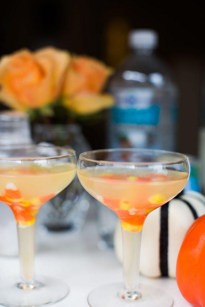 Candy corn vodka martinis, Halloween beverage ideas
