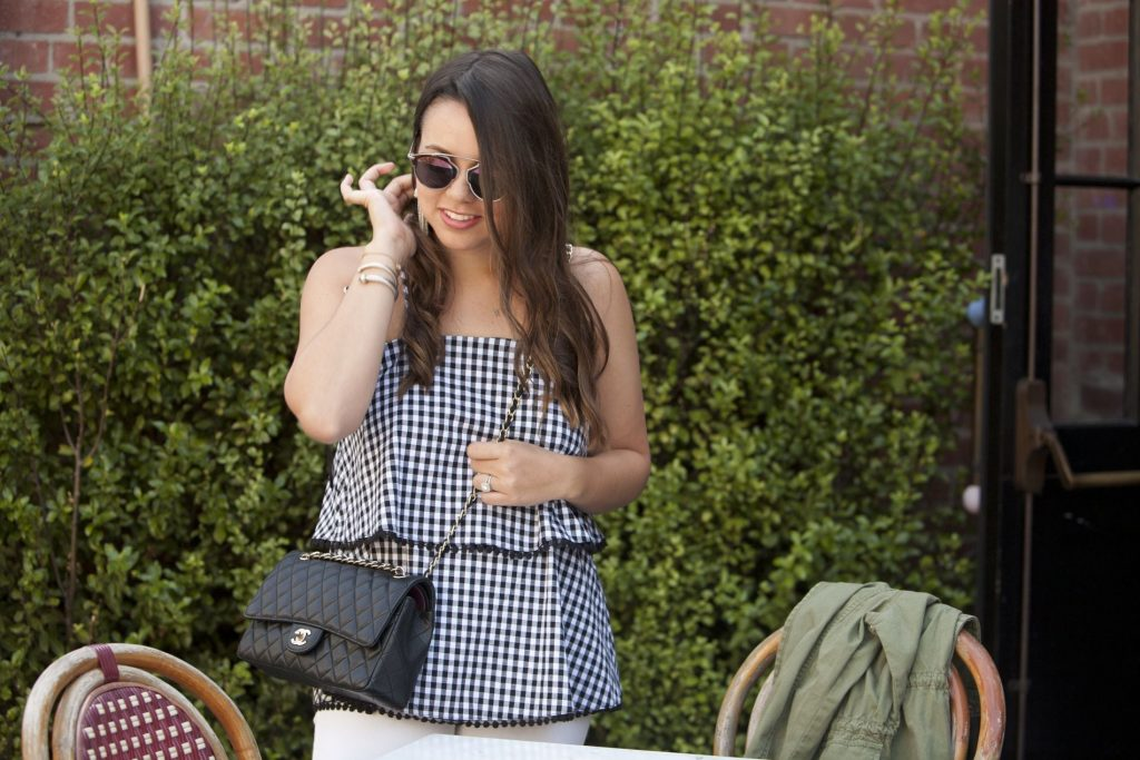 two-tiered gingham top, summer to fall transitional outfit
