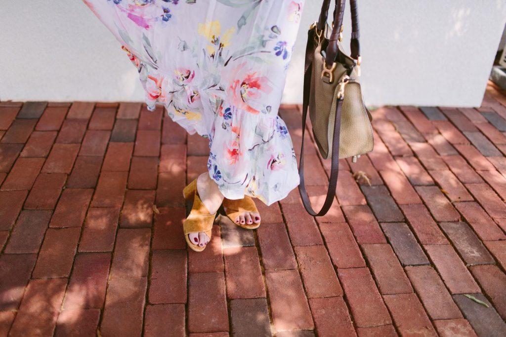 floral maxi dress, suede heeled mules, chloe handbag