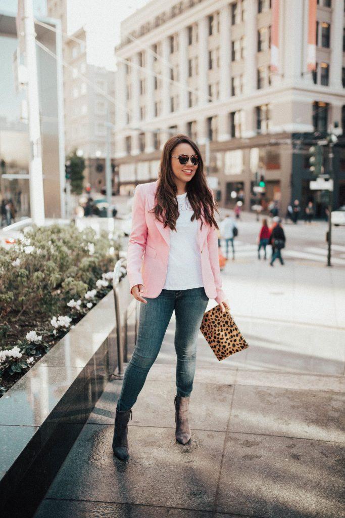 pink blazer, girly clothing options
