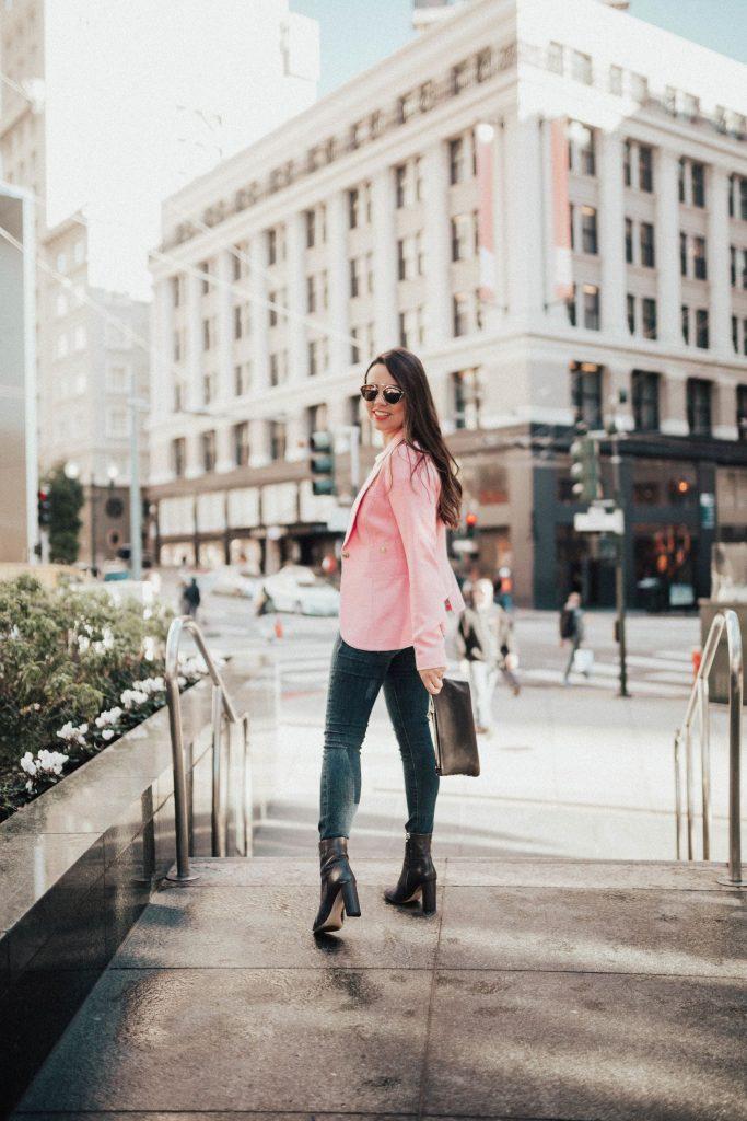 San Francisco style, blush pink Smythe blazer, classic outfit ideas