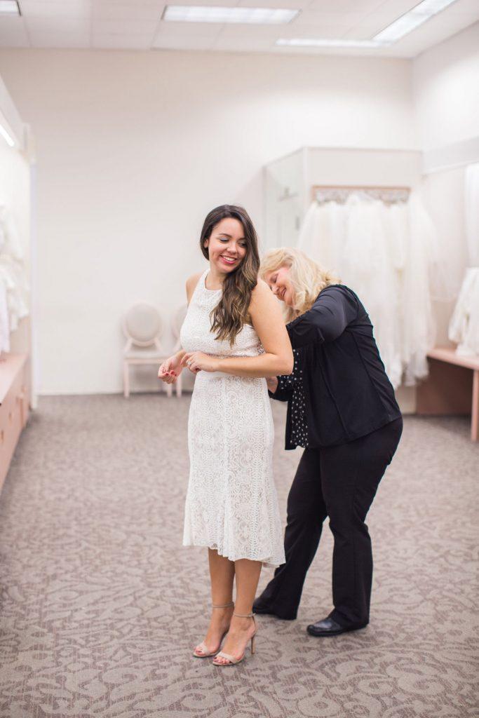 white lace dress, bridal outfit idea, short engagement dress