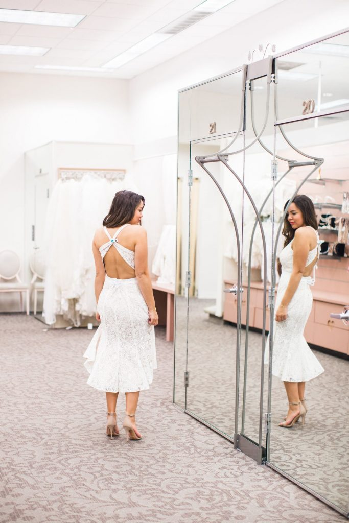 rehearsal dinner dress idea, hi lo dress hem, white lace dress engaged