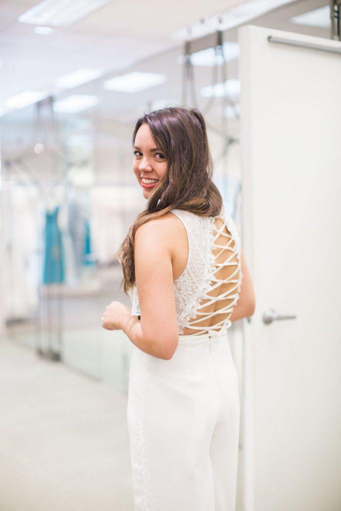 lace-up jumpsuit, white bride two-piece outfit, bridal outfit ideas