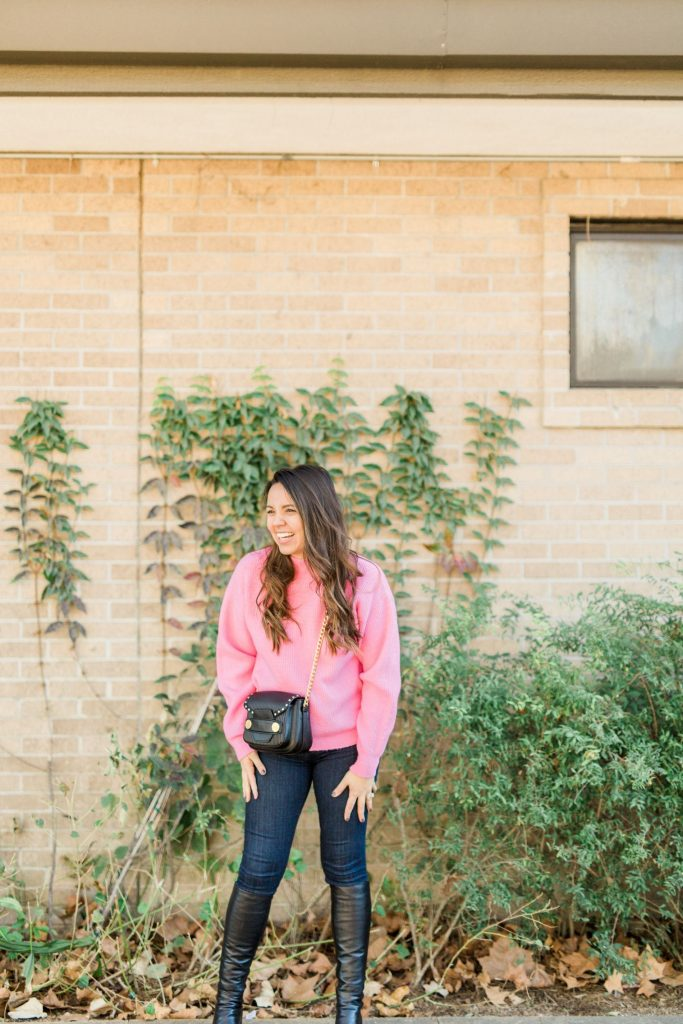 Mock neck ribbed sweater, hot pink sweater, how to dress warm and look cute