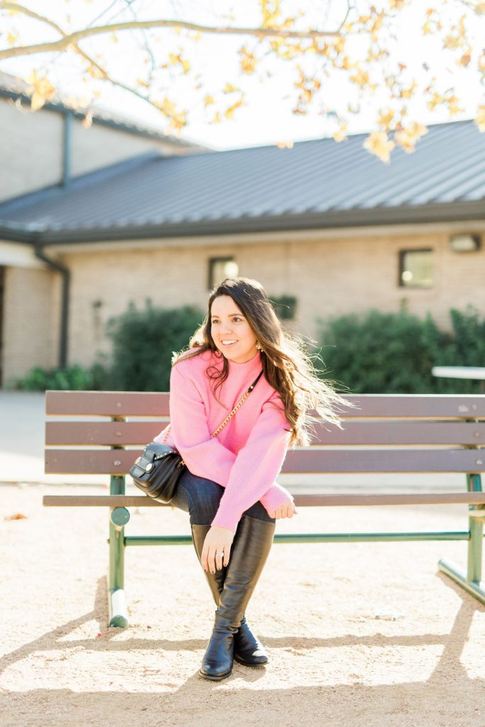 Hot pink bell sleeve sweater, budget-friendly sweaters, trendy outerwear for winter