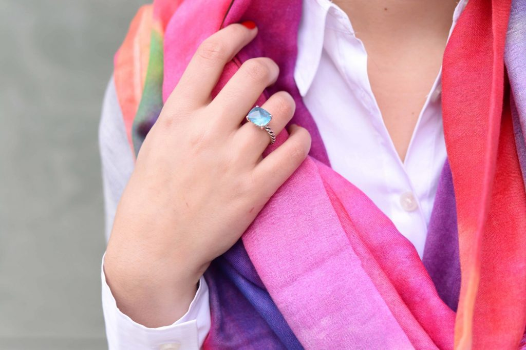 Watercolor scarf & David Yurman ring