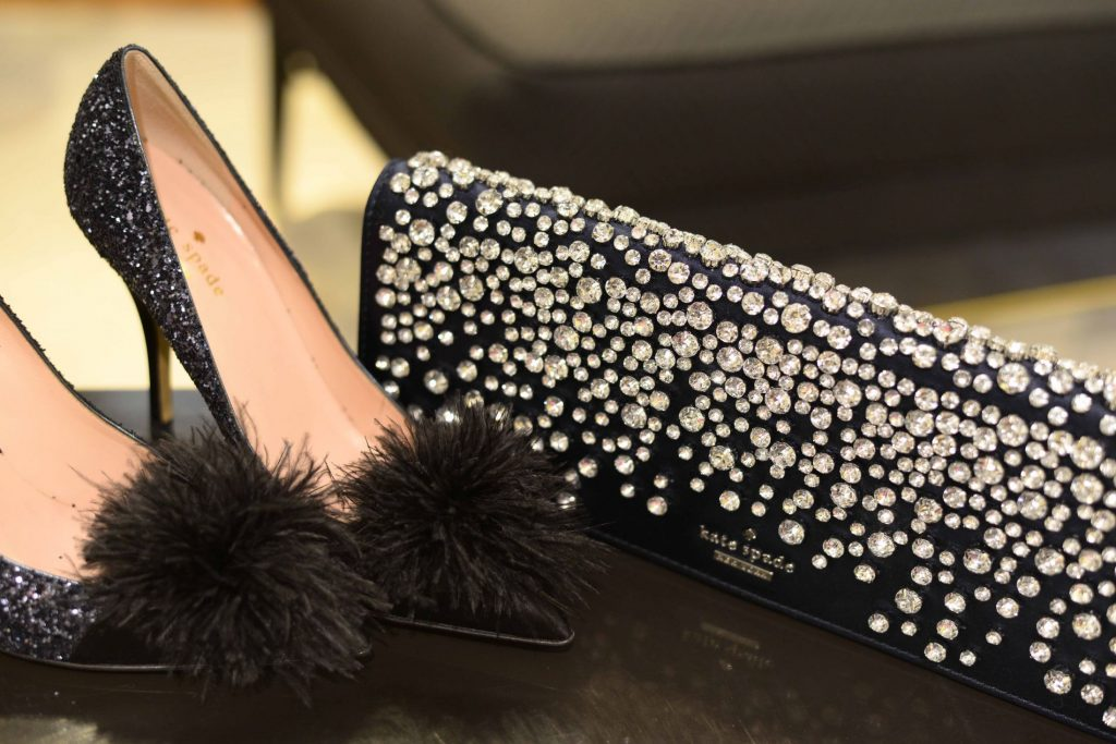 Kate Spade New York Lilo feather-accent glitter pumps