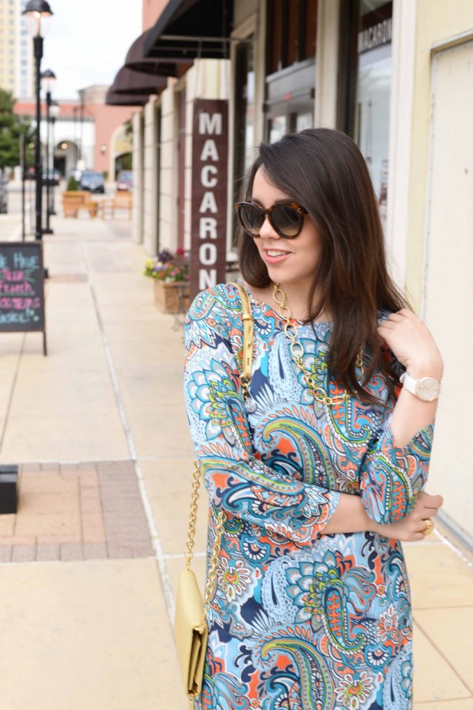 Paisley shift dress + gold accessories