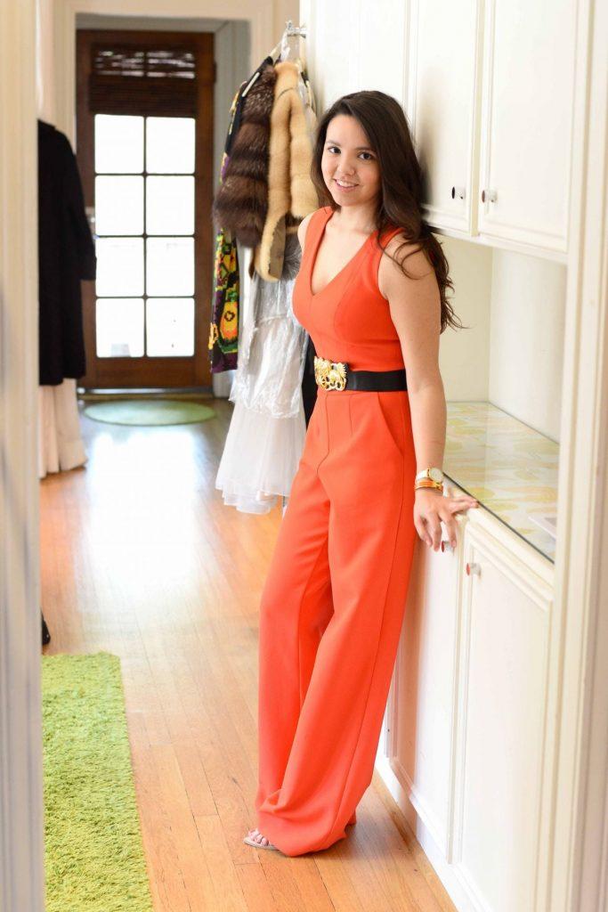 Trina Turk Monroe orange jumpsuit