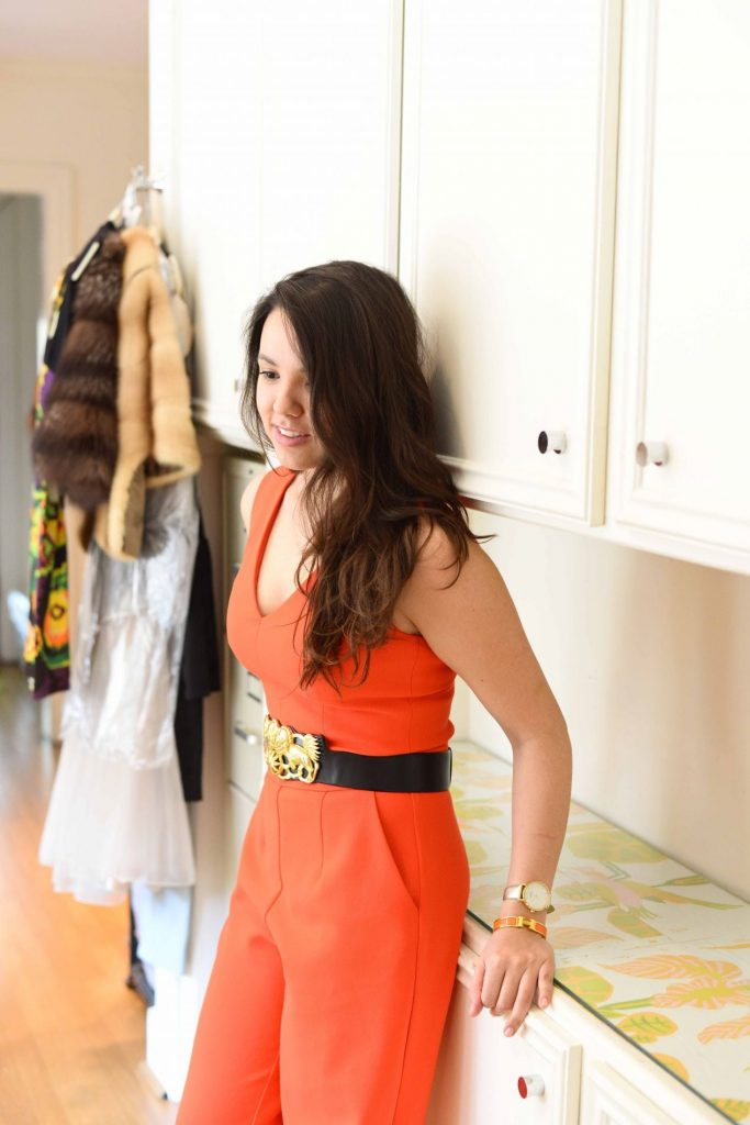 Trina Turk Monroe orange jumpsuit