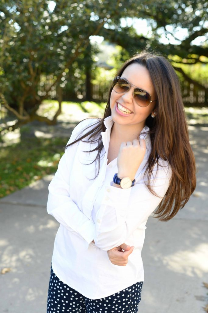 White button-down + Daniel Wellington watch