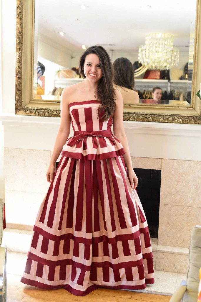 Vintage striped ball gown