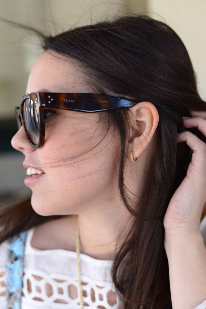 Jude Frances huggie earrings + Celine sunglasses