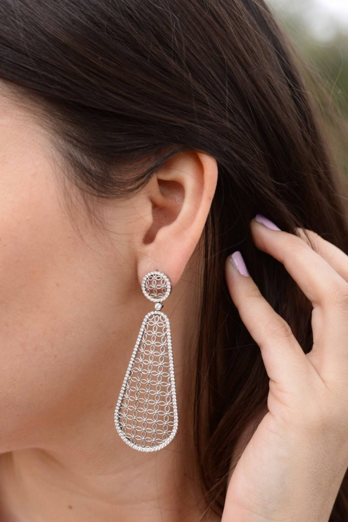Jack Kelege diamond earring drops via Lewis Jewelers