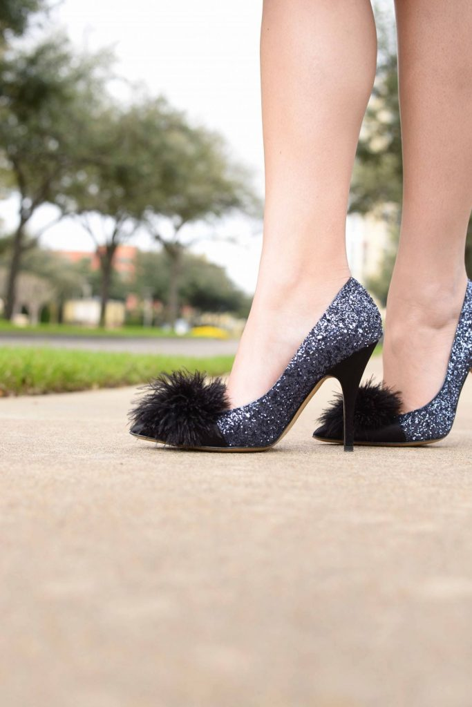 Kate Spade feather pom + sparkle heels