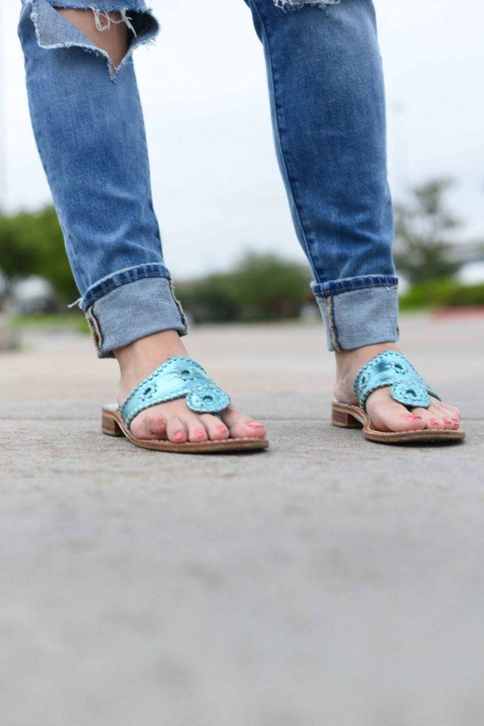Jack Rogers metallic turquoise navajo sandals