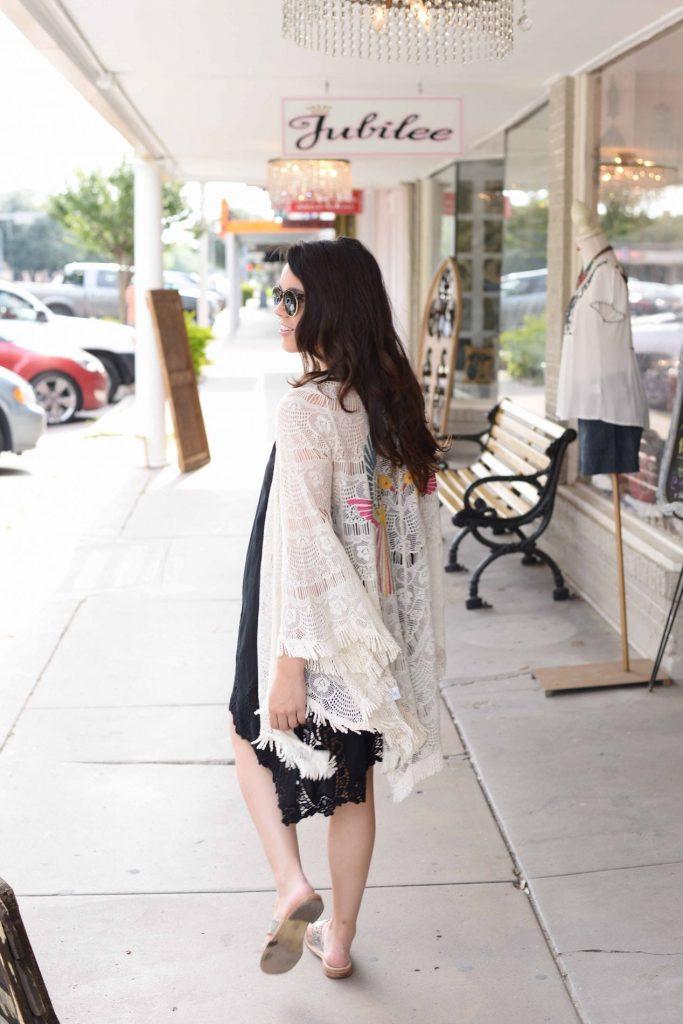 Partridge embroidered kimono