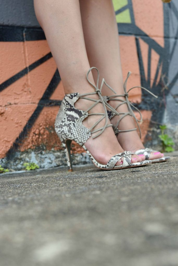 Lace up snake skin heels