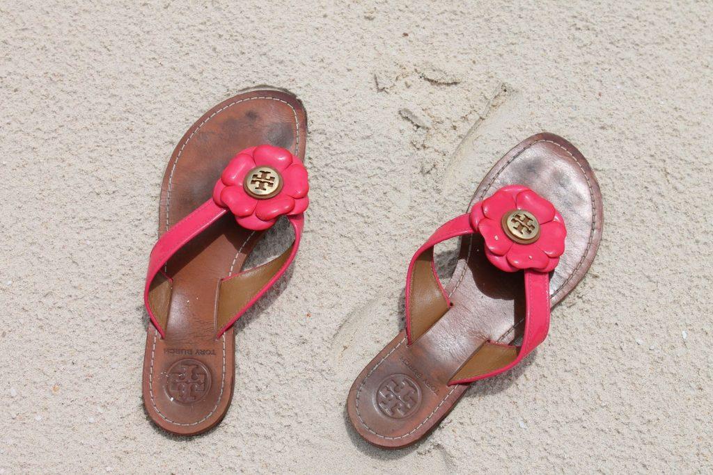 Tory Burch flower flip-flops
