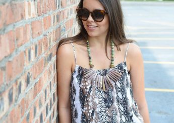 Mixed media - statement necklace & snakeskin print cami