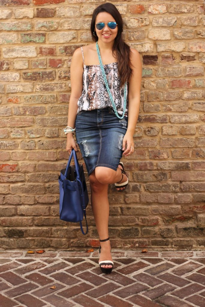 Denim skirt + silk cami