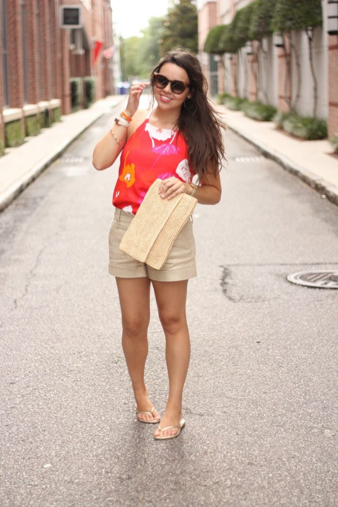 Hot pink and Red floral tank - Escapada Living