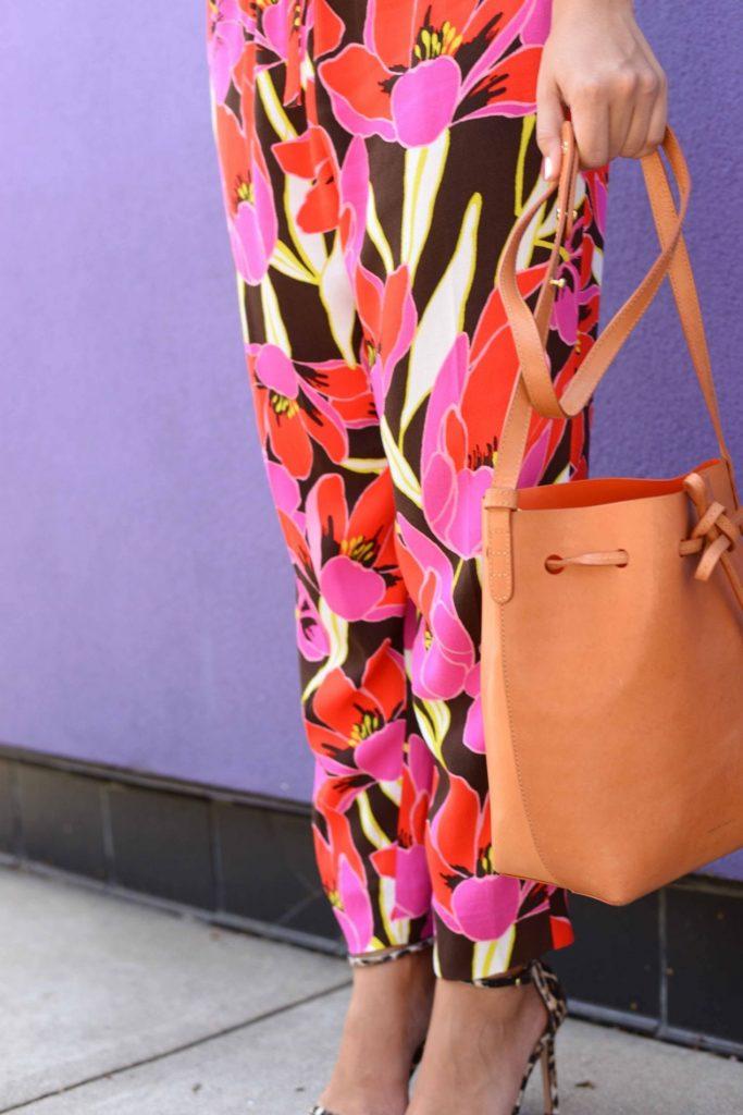 Floral Pants & Mansur Gavriel bucket bag