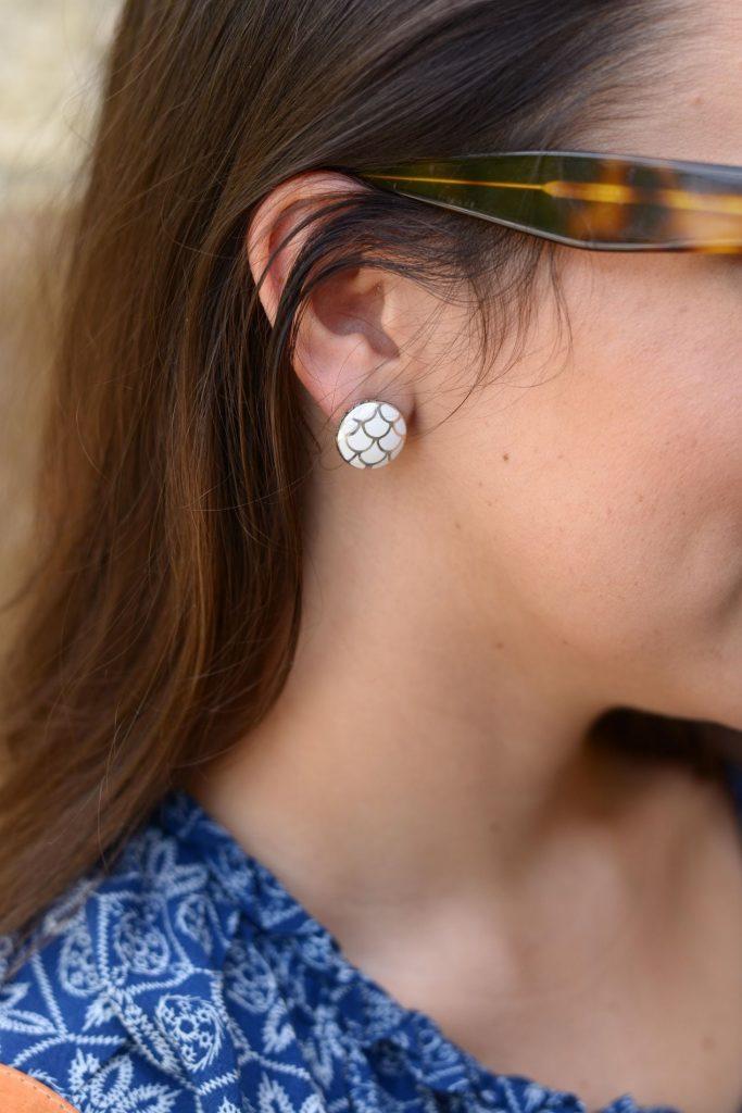 John Hardy button earrings - white enamel