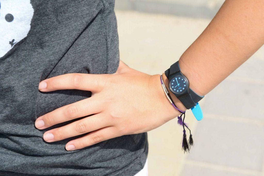 Swatch black wrap bracelet watch